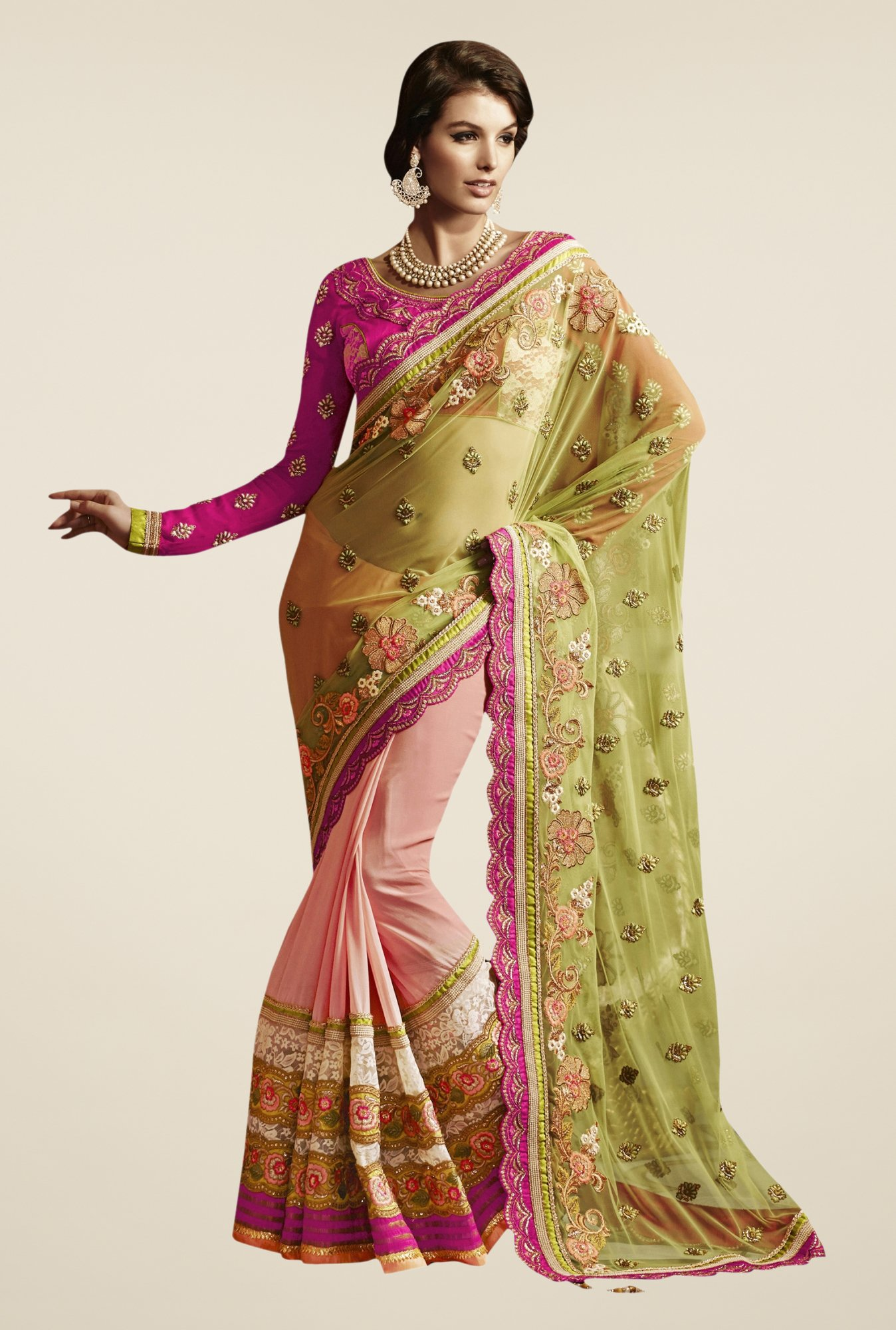 Triveni Peach & Green Embroidered Net Saree