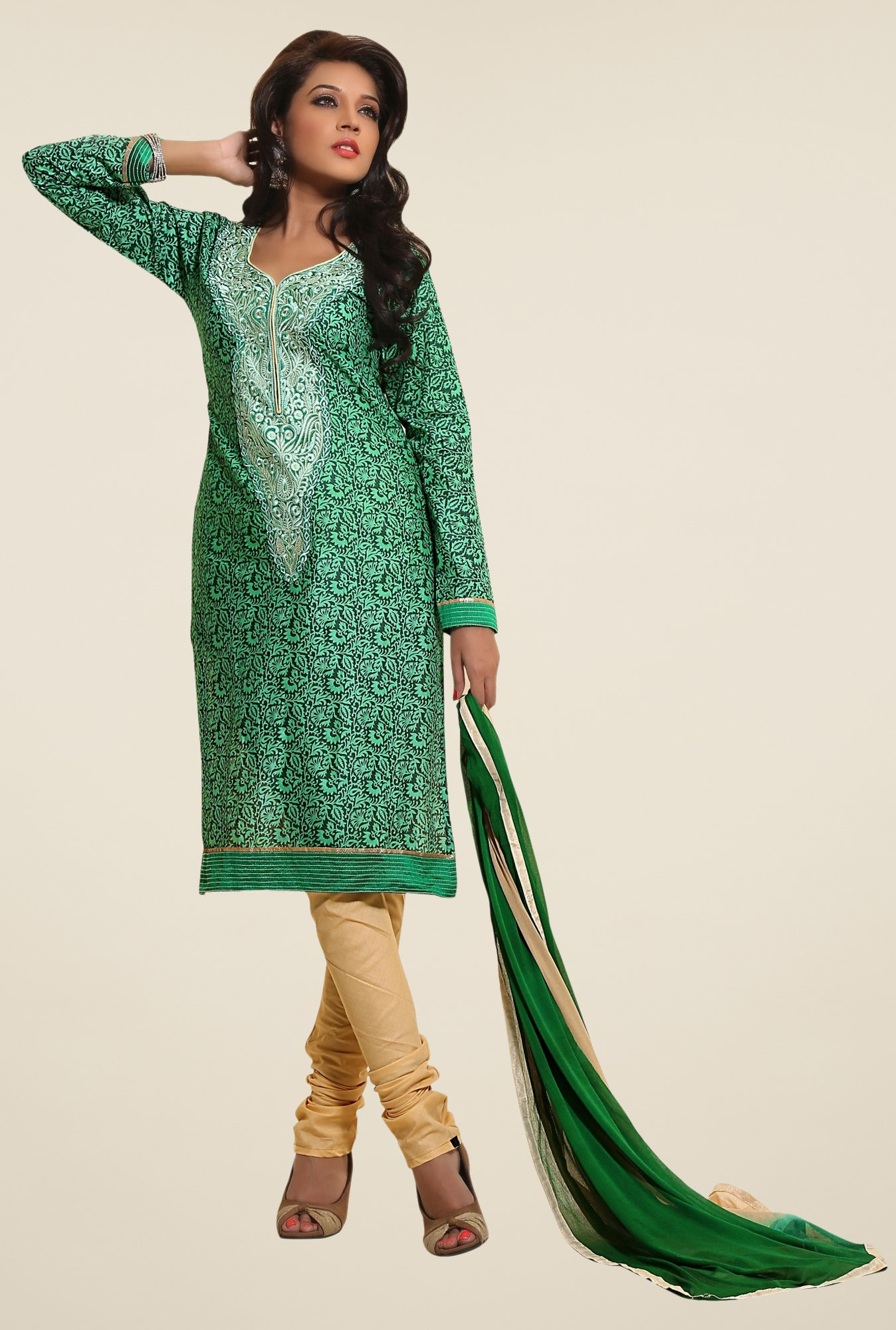 Triveni Green & Beige Printed Dress Material