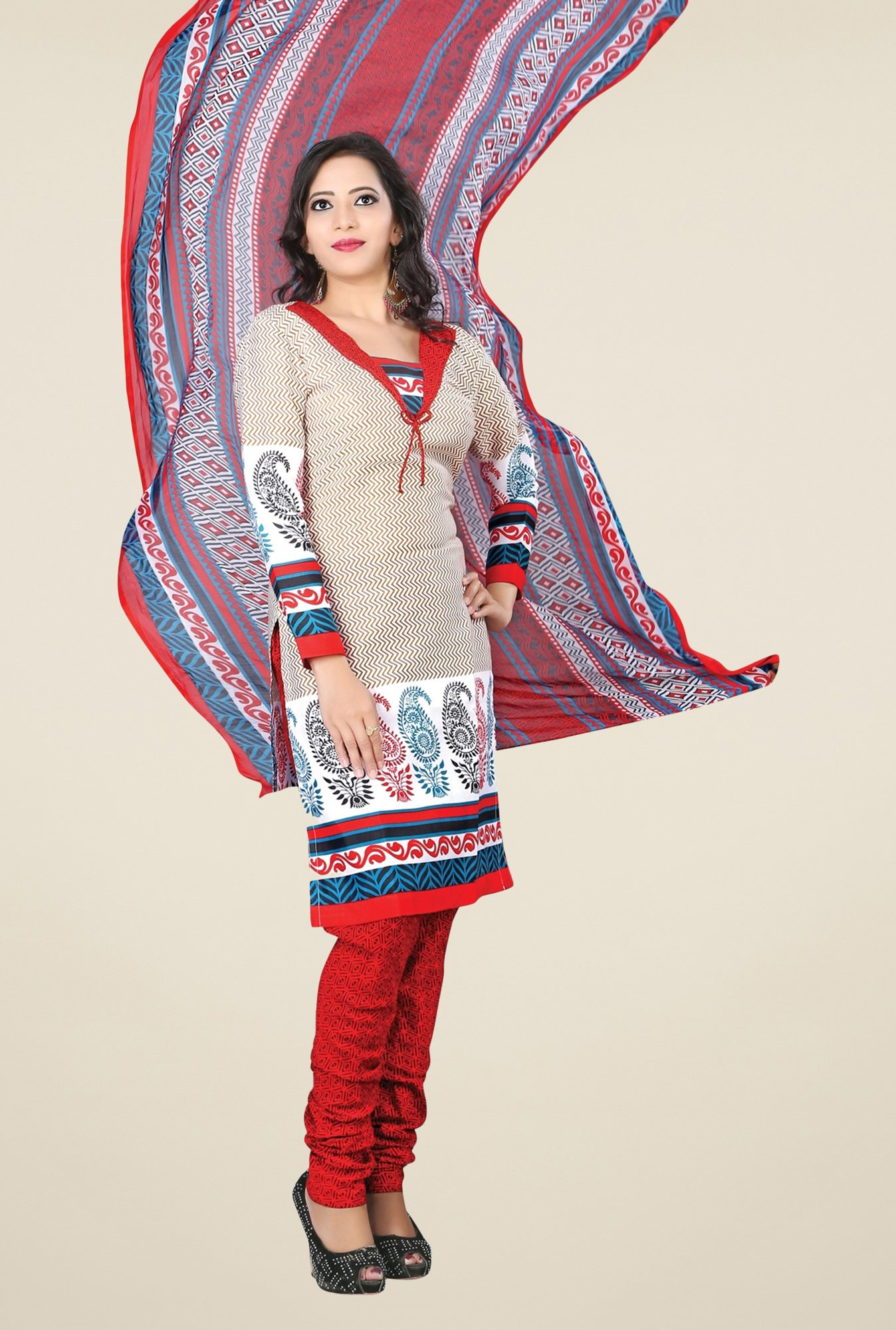 Triveni Beige & Red Printed Dress Material