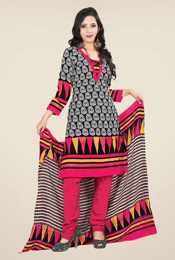 Triveni Black & Pink Printed Dress Material