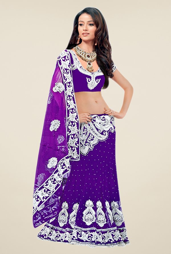 Triveni Purple Embroidered Net Saree
