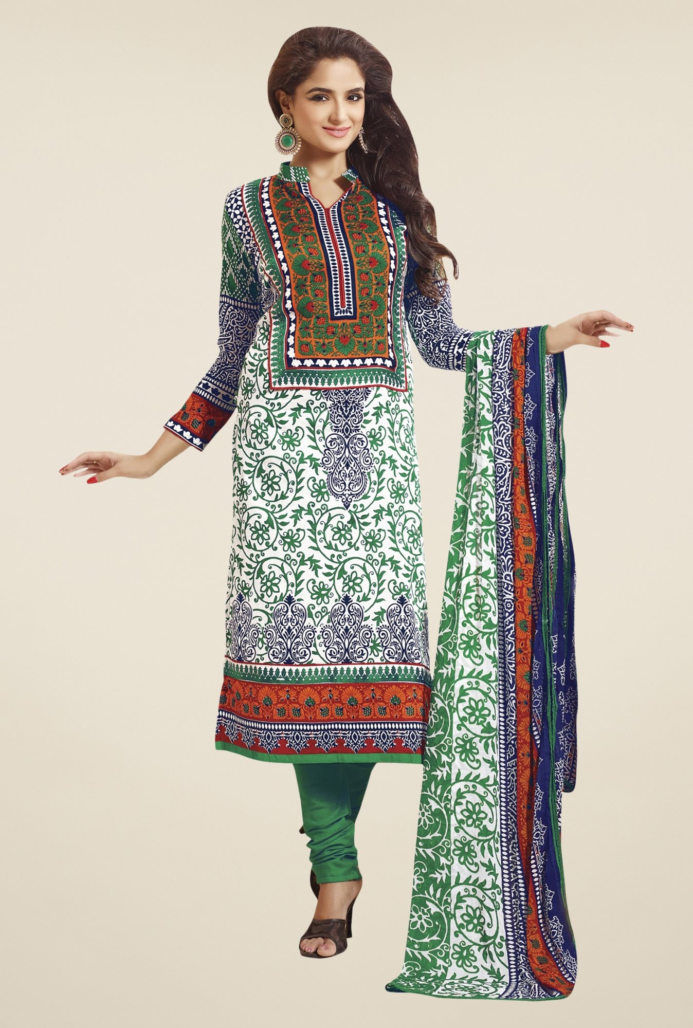 Triveni Off-white & Green Printed Dress Material