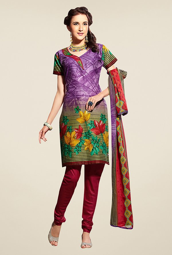 Triveni Multicolor Floral Print Dress Material