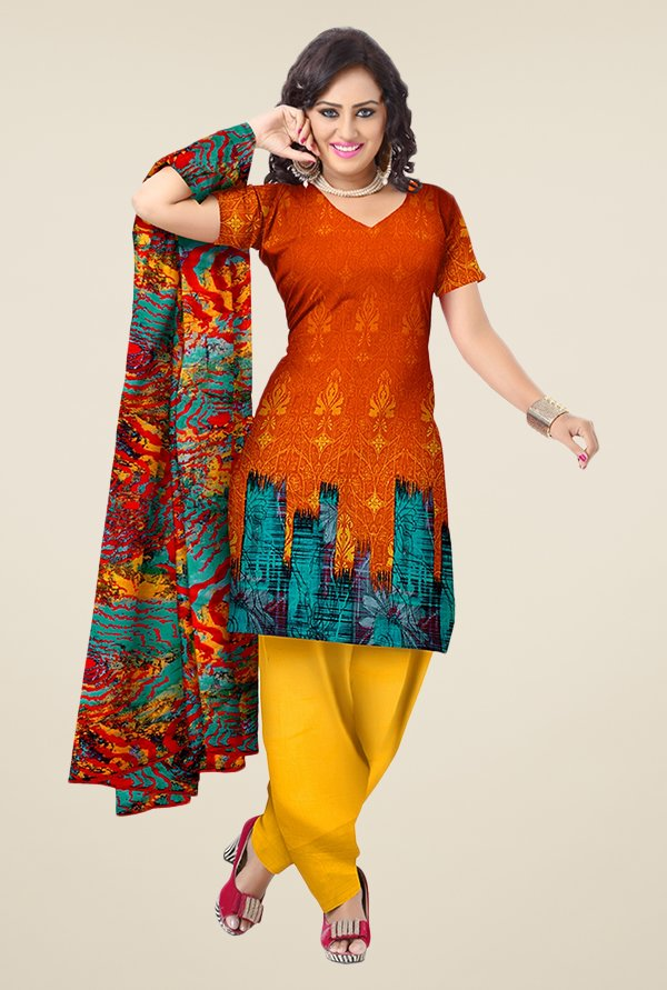 Triveni Orange & Yellow Printed Dress Material