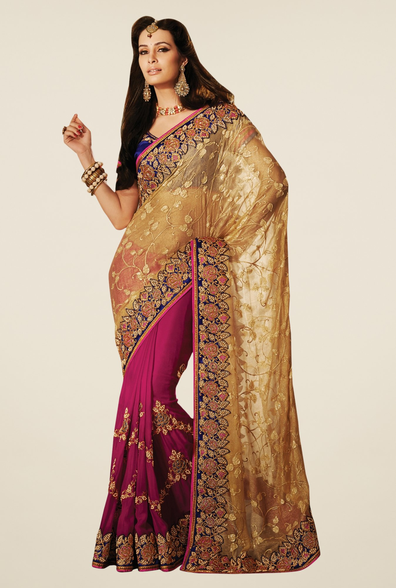 Triveni Magenta & Gold Embroidered Faux Georgette Saree