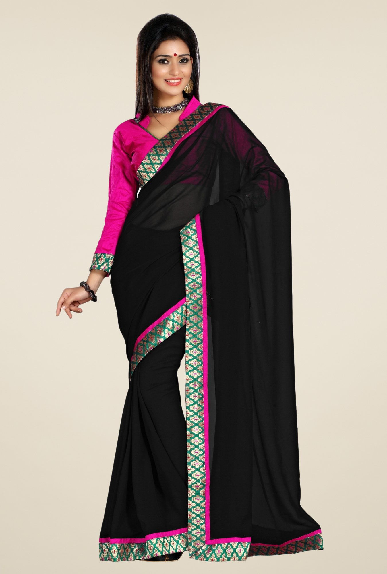 Triveni Black Solid Faux Georgette Saree
