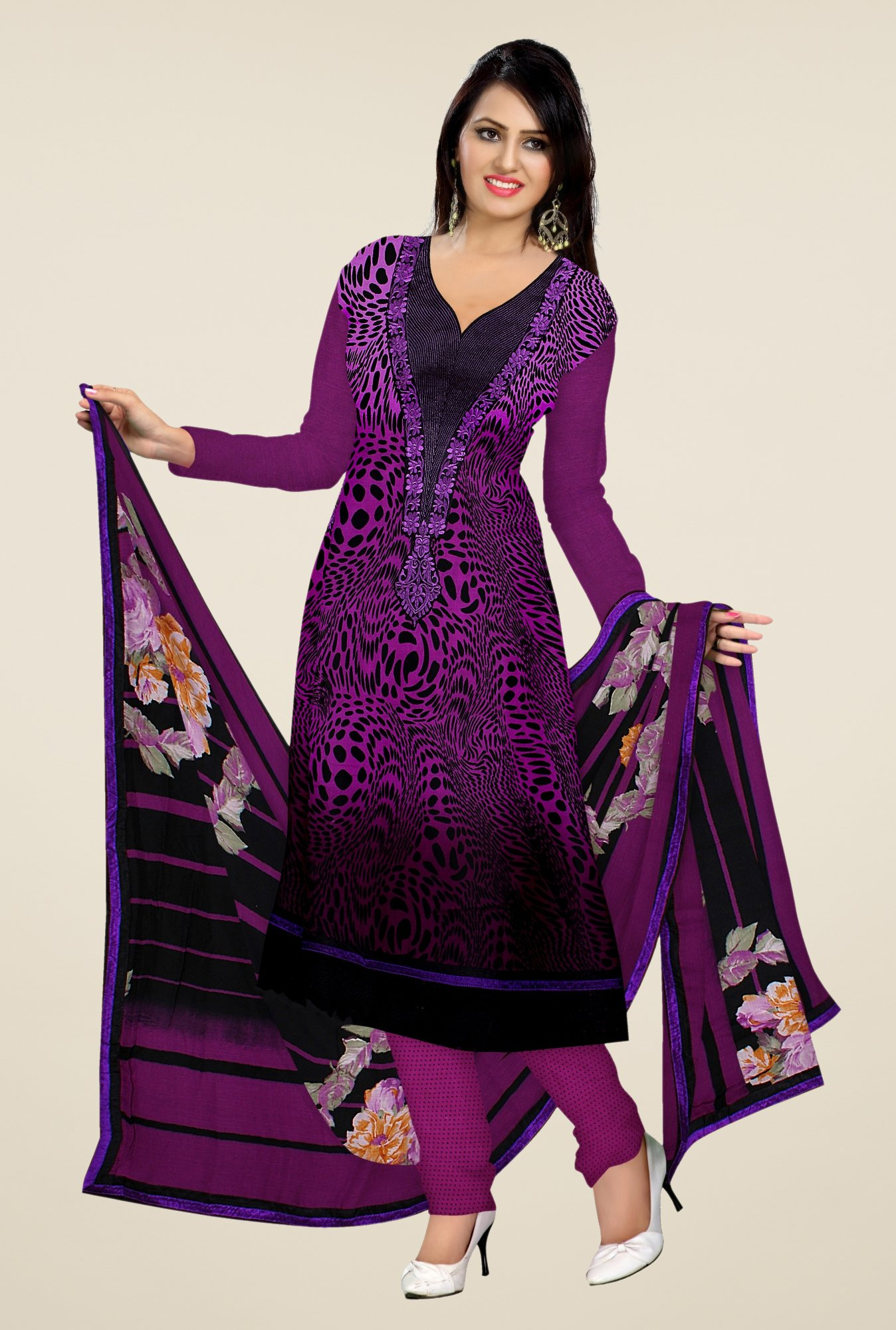 Triveni Purple Printed Dress Material