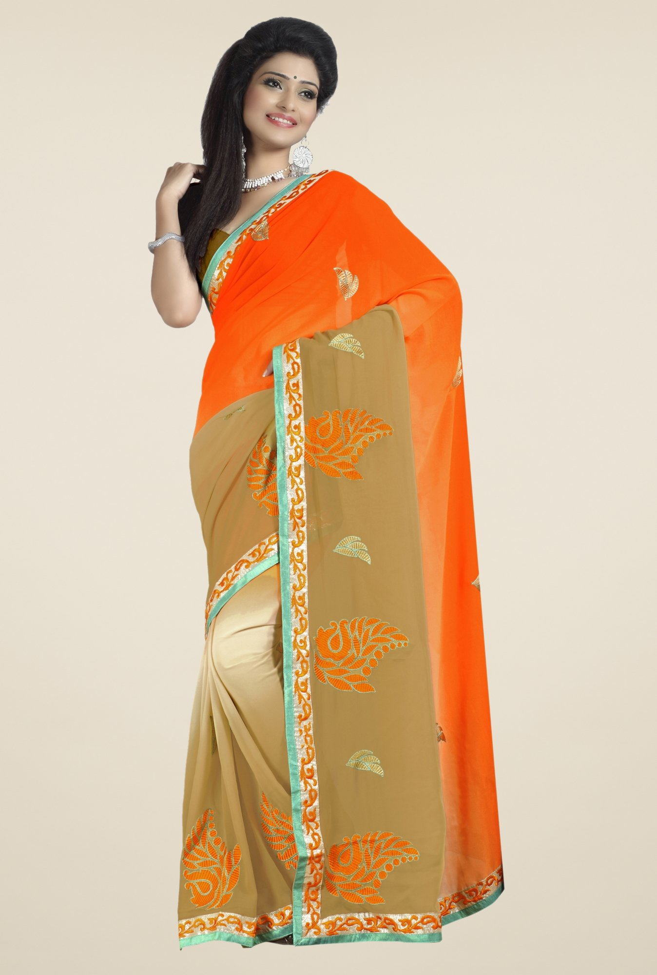 Triveni Beige & Orange Embroidered Faux Georgette Saree