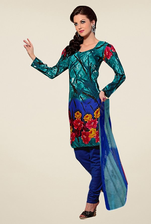 Triveni Teal & Blue Floral Print Dress Material