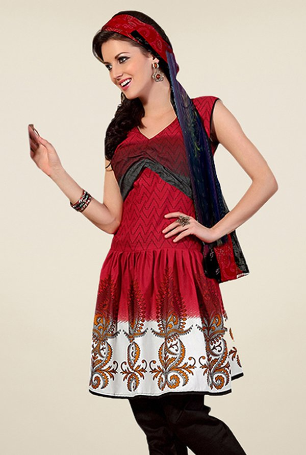 Triveni Maroon & Brown Printed Dress Material