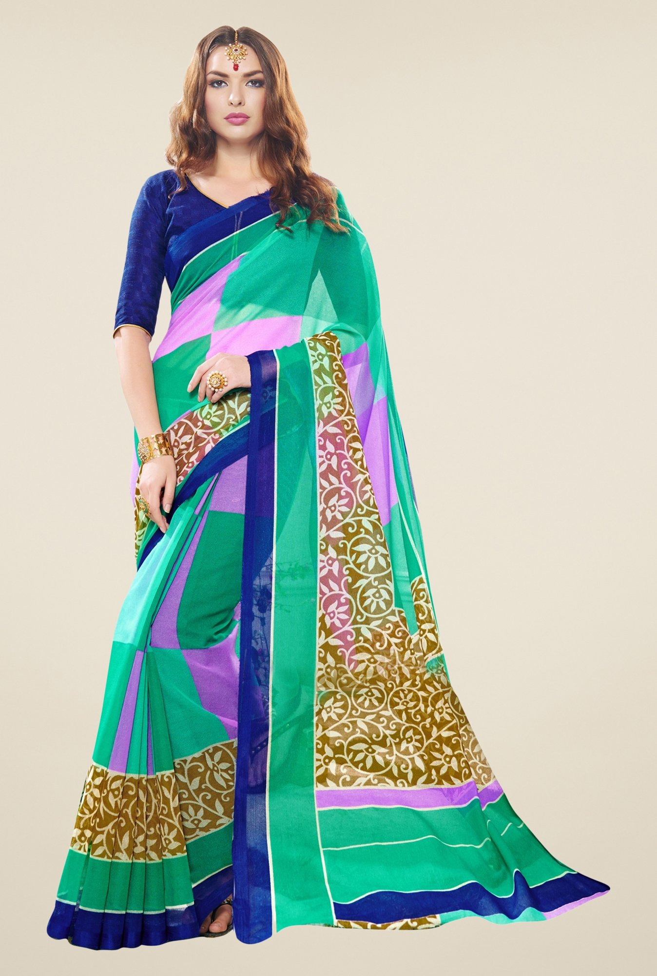 Triveni Green Printed Supernet Saree