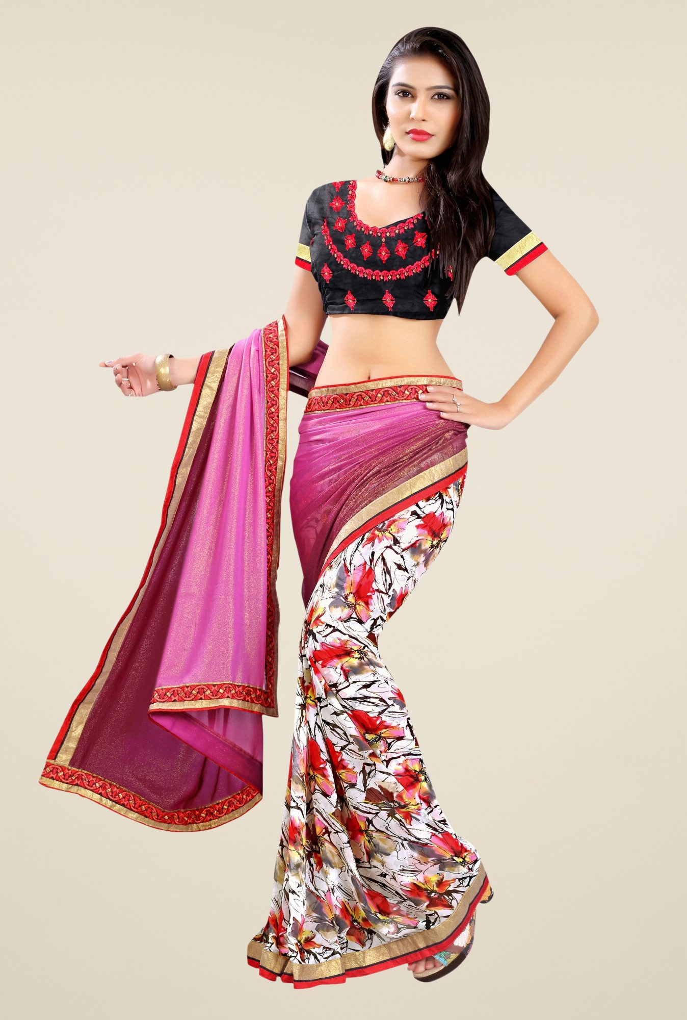 Triveni Off White & Pink Printed Faux Georgette Saree