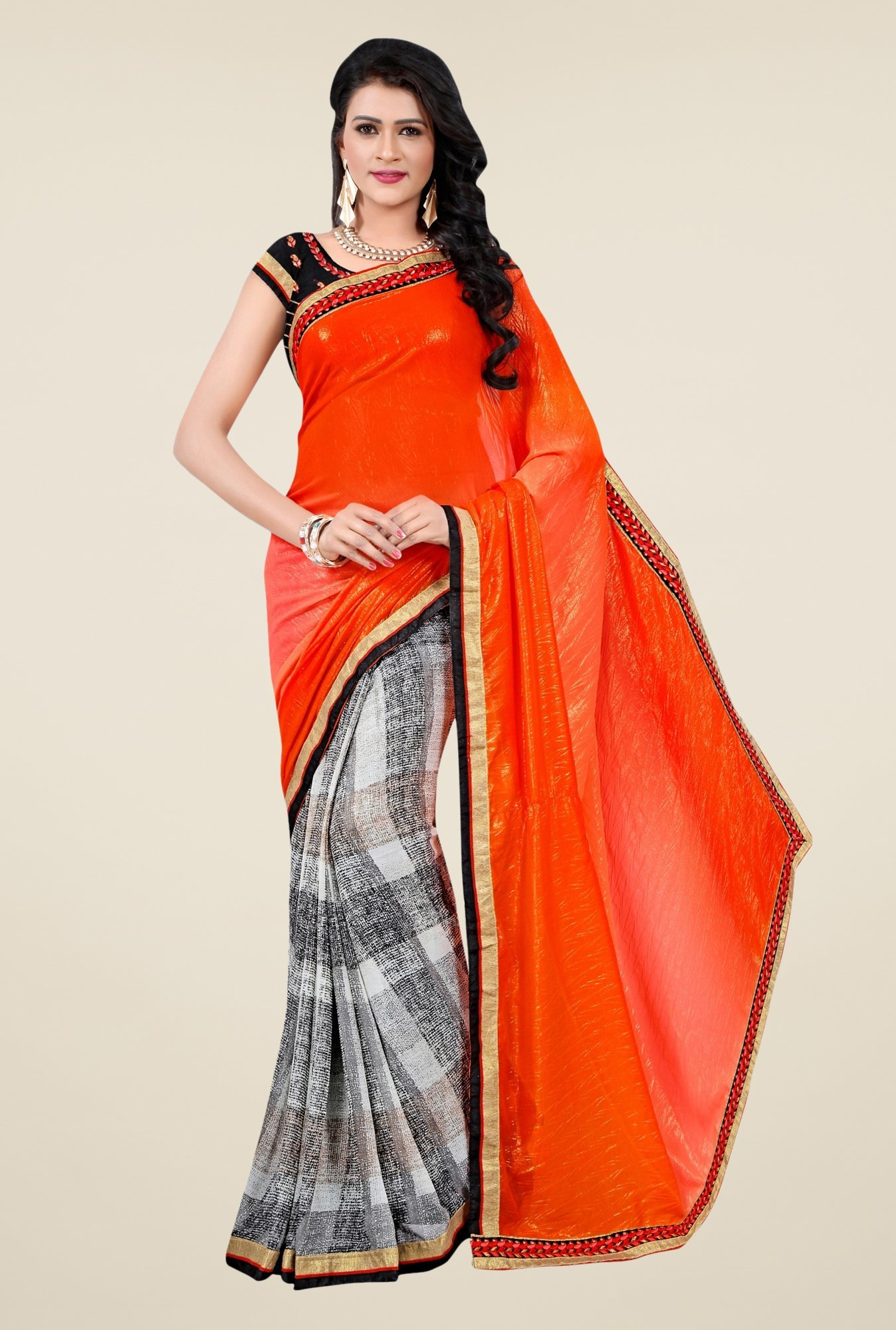 Triveni Off White & Orange Printed Faux Georgette Saree