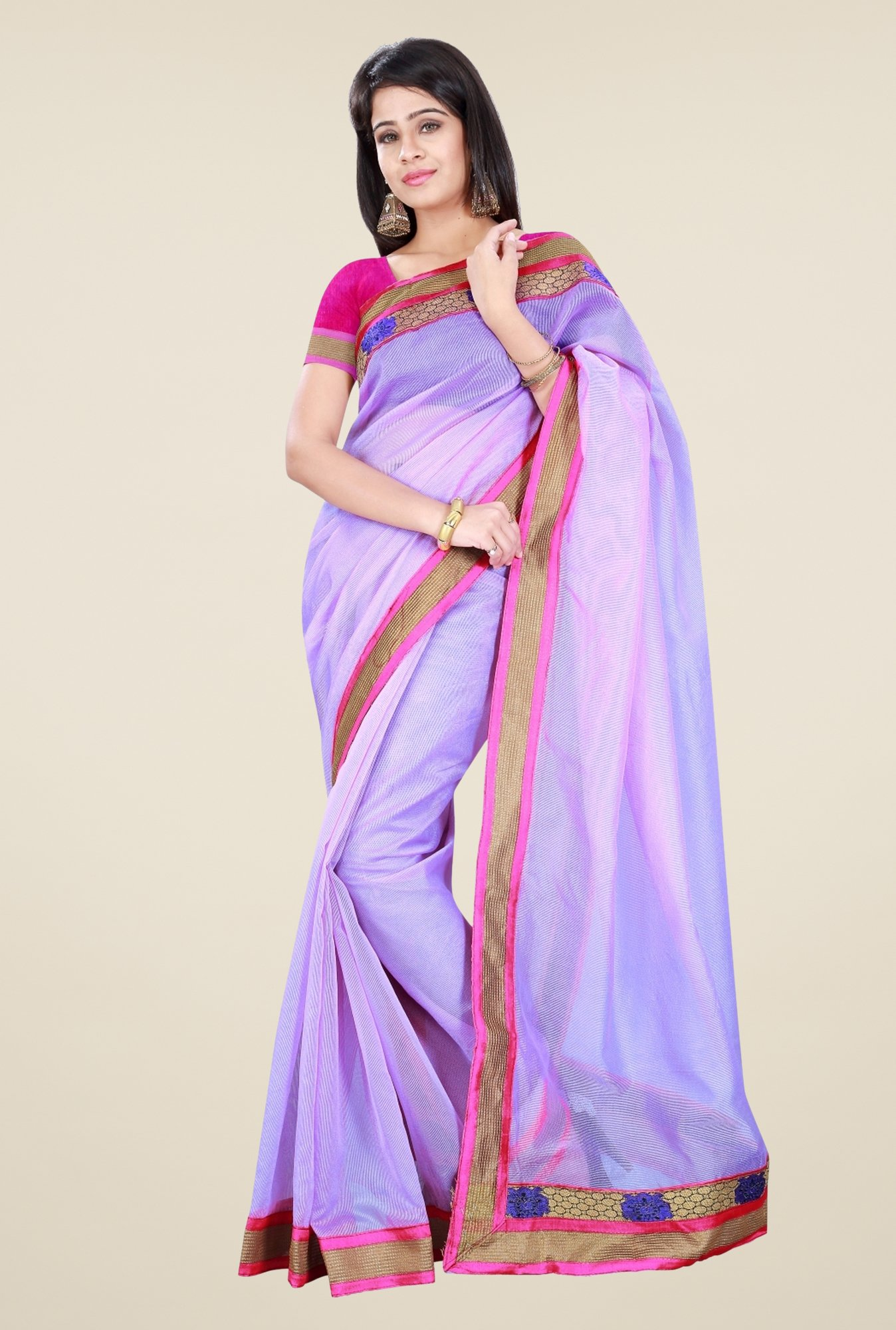 Triveni Violet Solid Supernet Saree