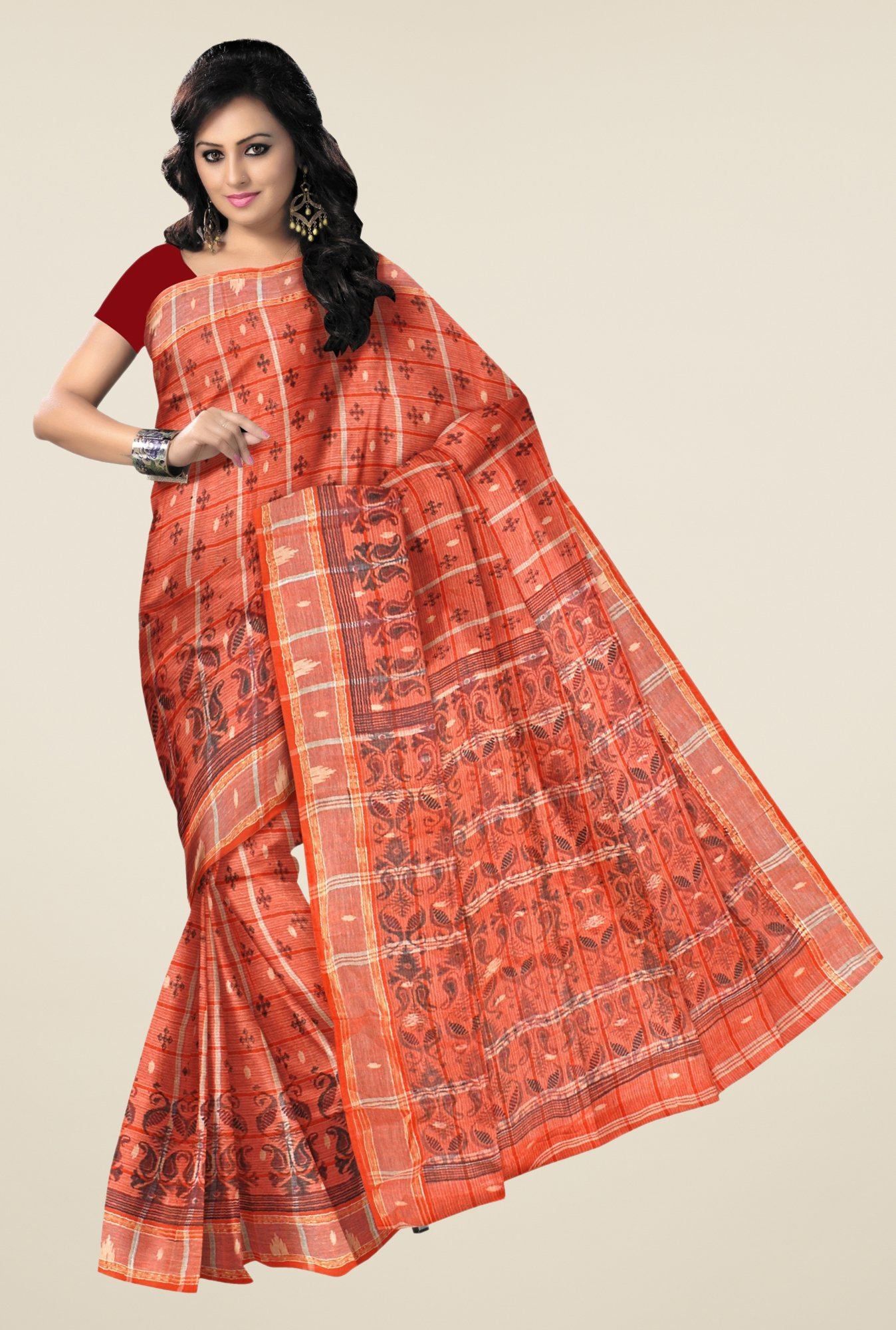 Triveni Orange Printed Cotton & Silk Saree
