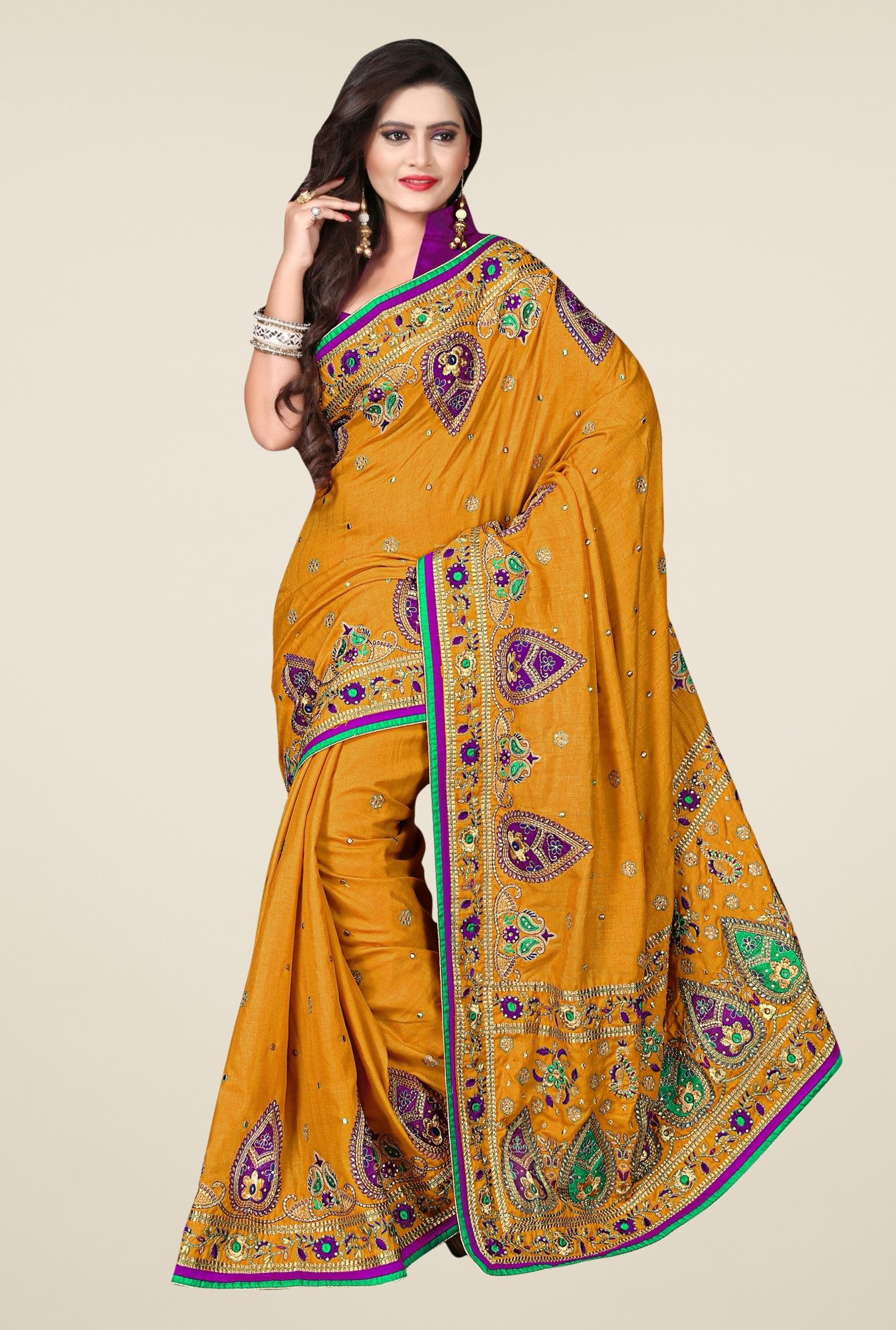 Triveni Mustard Embroidered Art Silk Saree