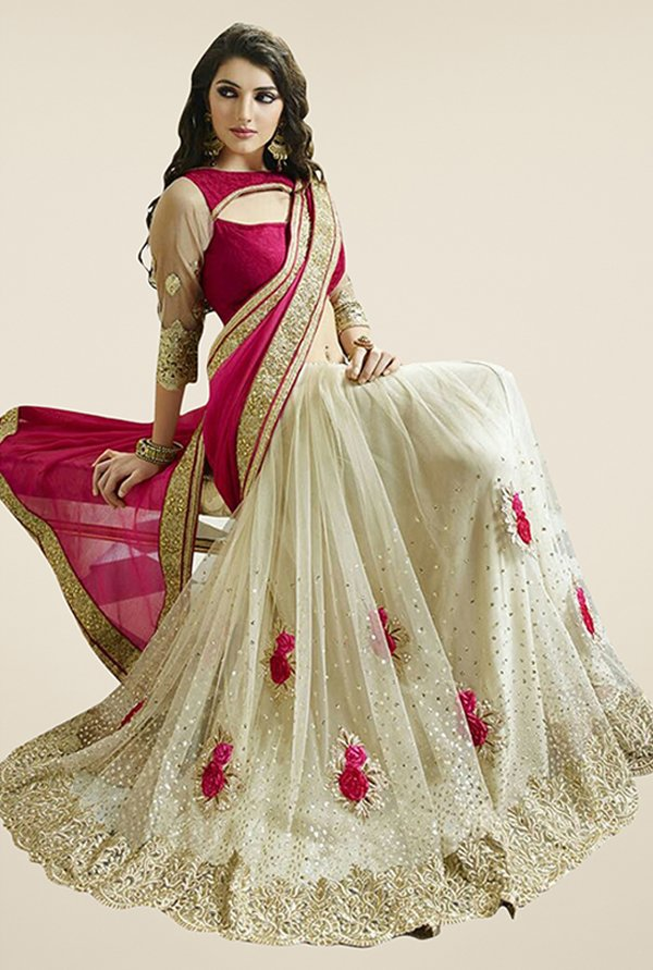 Triveni Beige & Magenta Embroidered Raw Silk Saree