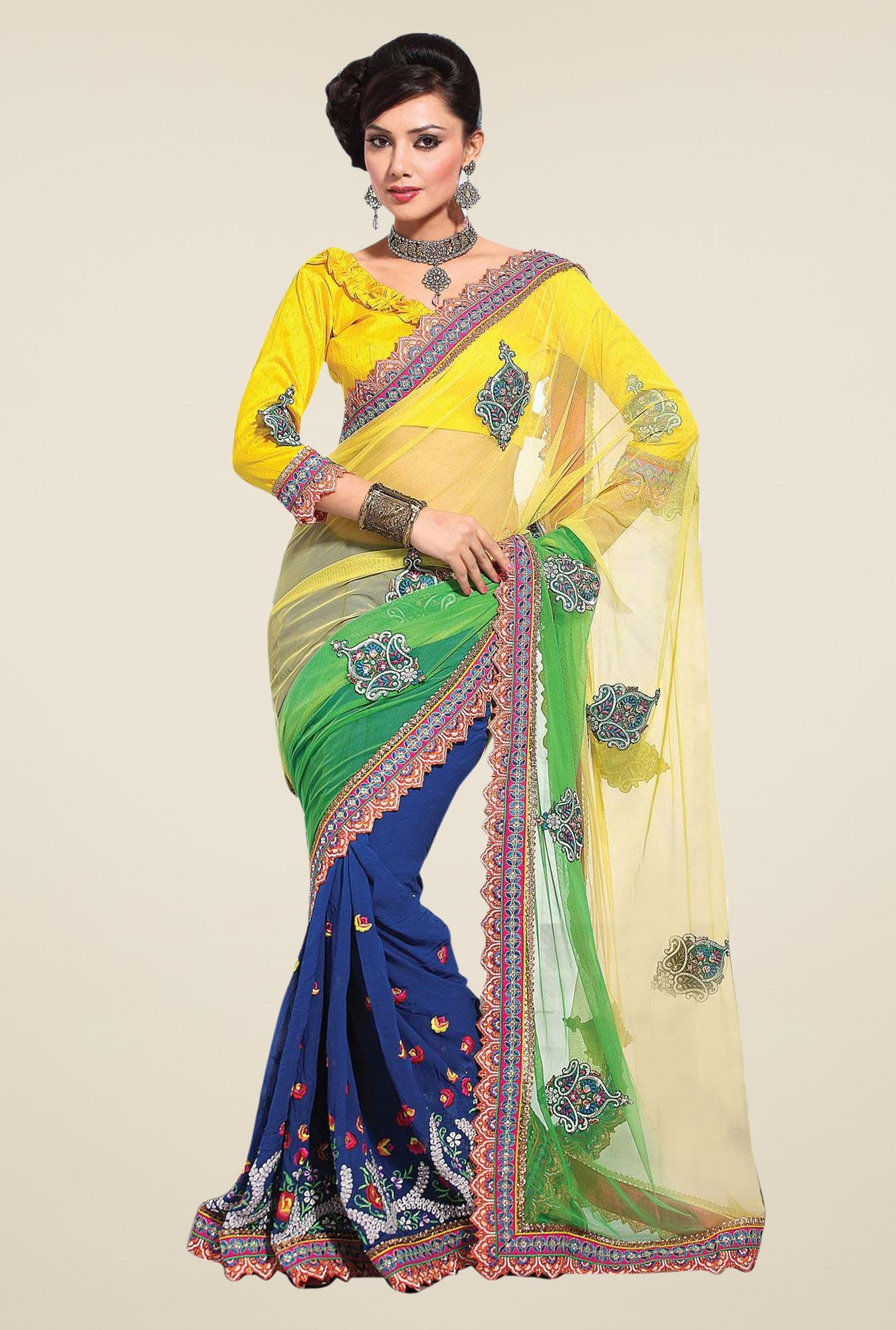Triveni Multicolor Embroidered Bemberg Dhupian Net Saree