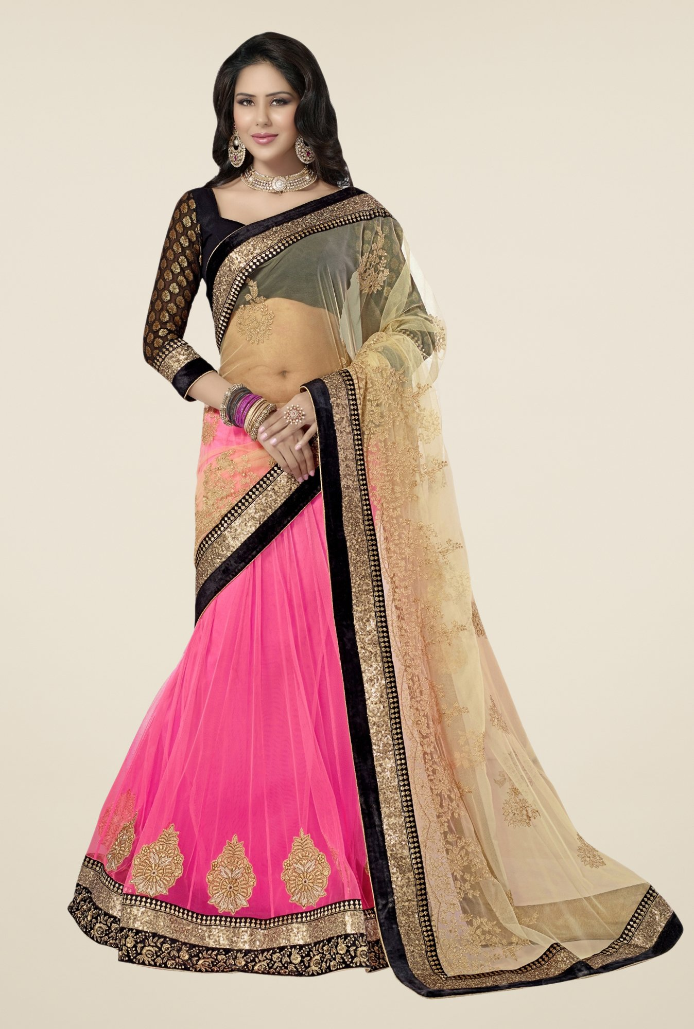 Triveni Pink & Beige Embroidered Net Saree