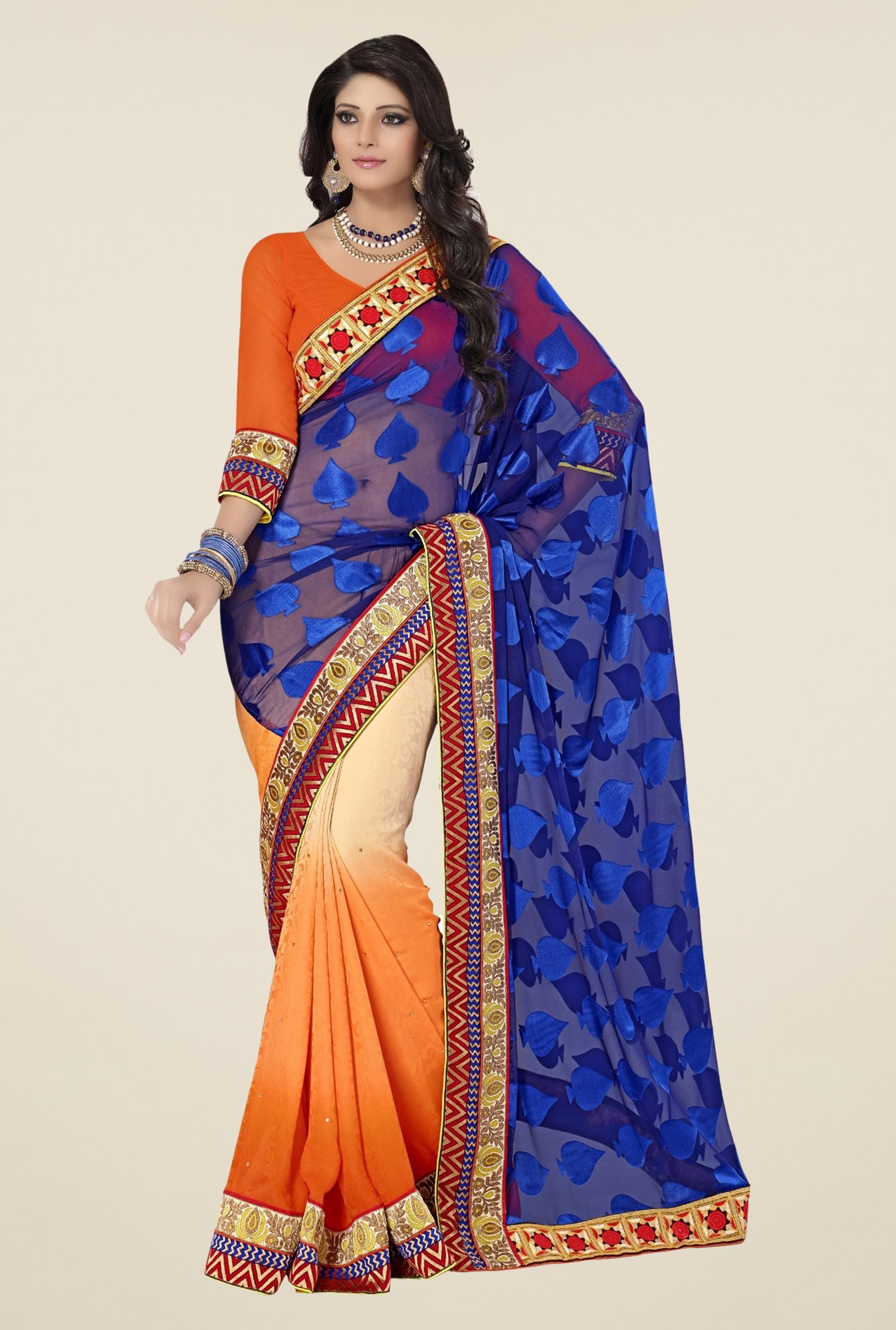 Triveni Orange & Blue Printed Brasso Saree