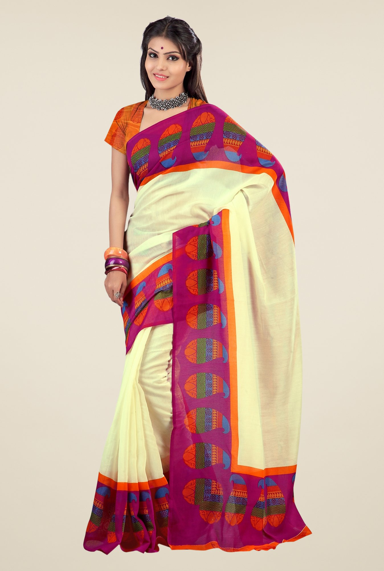 Triveni Cream & Purple Paisley Print Art Silk Saree