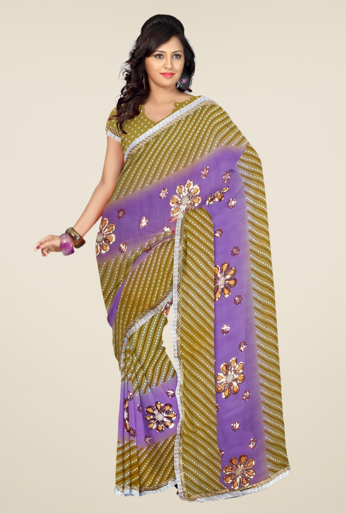 Triveni Olive & Purple Printed Faux Georgette Saree