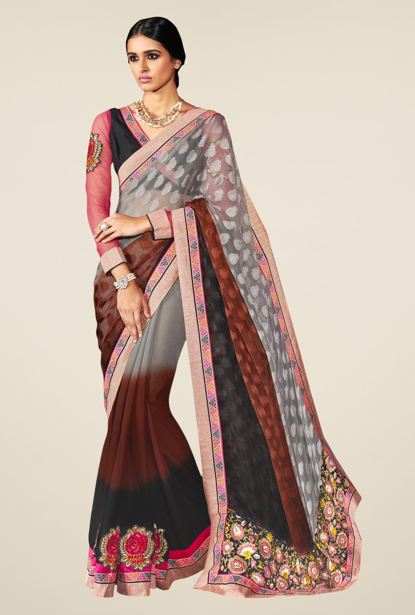 Triveni Brown & Grey Embroidered Faux Georgette Saree