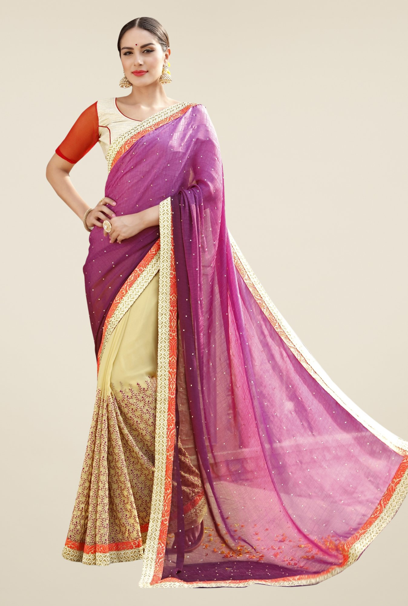 Triveni Beige & Purple Embroidered Faux Georgette Saree