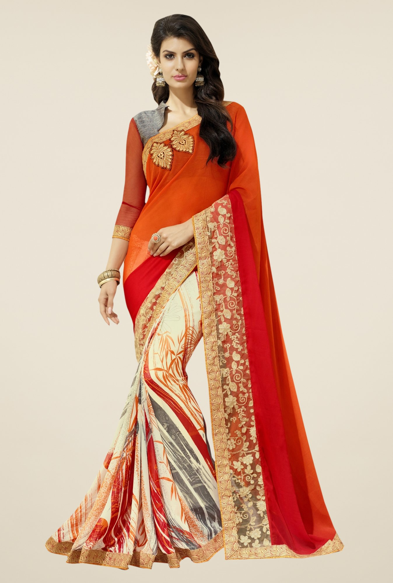 Triveni Beige & Orange Printed Faux Georgette Saree