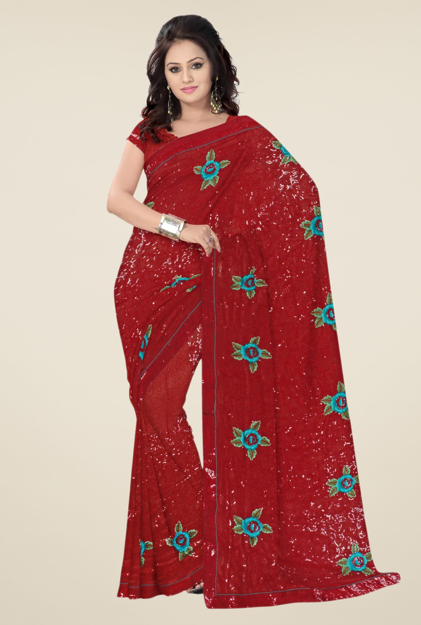 Triveni Maroon Faux Embroidered Georgette Saree