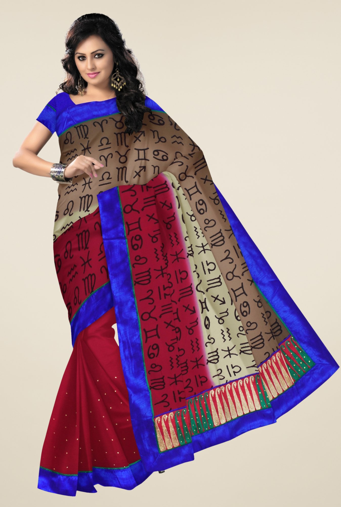 Triveni Multicolor Printed Chiffon & Faux Georgette Saree