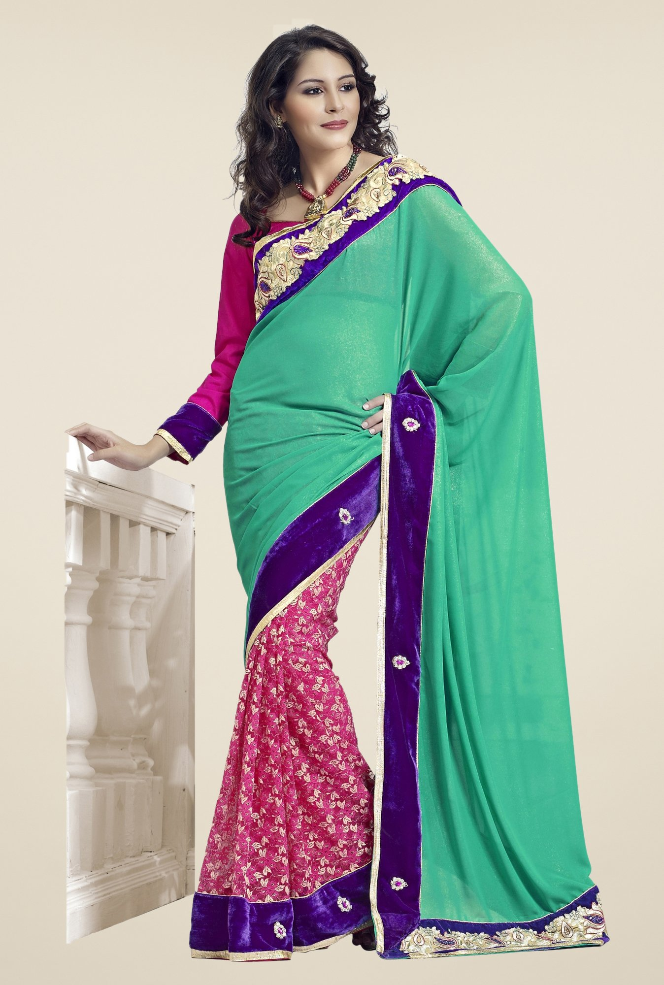 Triveni Pink & Green Embroidered Faux Georgette Saree