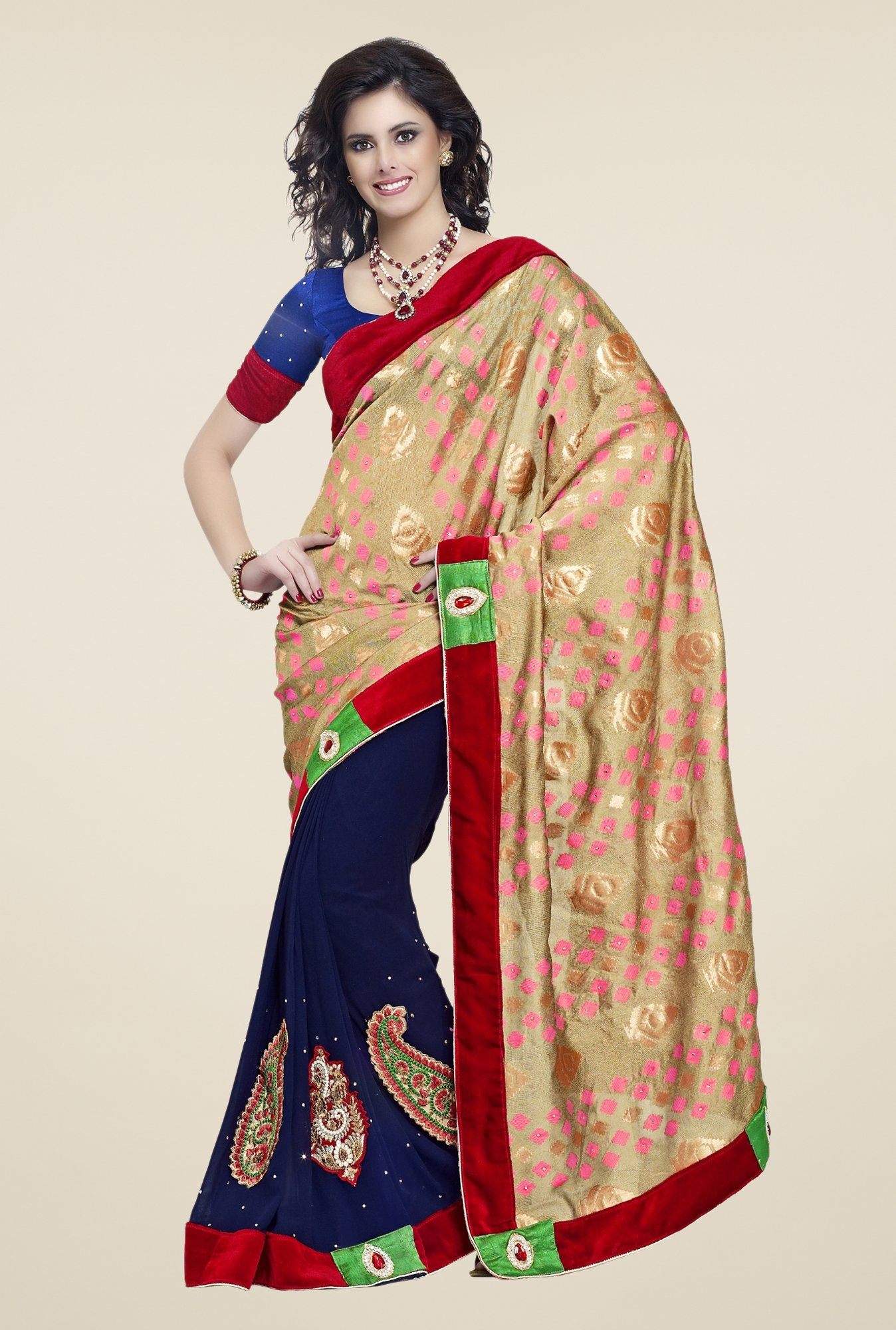 Triveni Navy & Beige Embroidered Faux Georgette Saree
