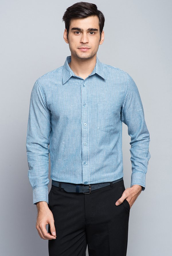 Fabindia Blue Striped Shirt