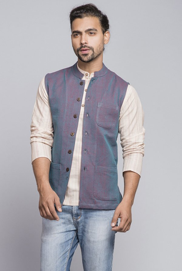 Fabindia Blue Solid Nehru Jacket
