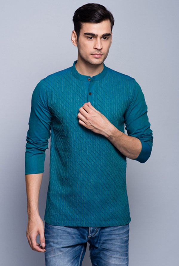 Fabindia Teal Embroidered Kurta