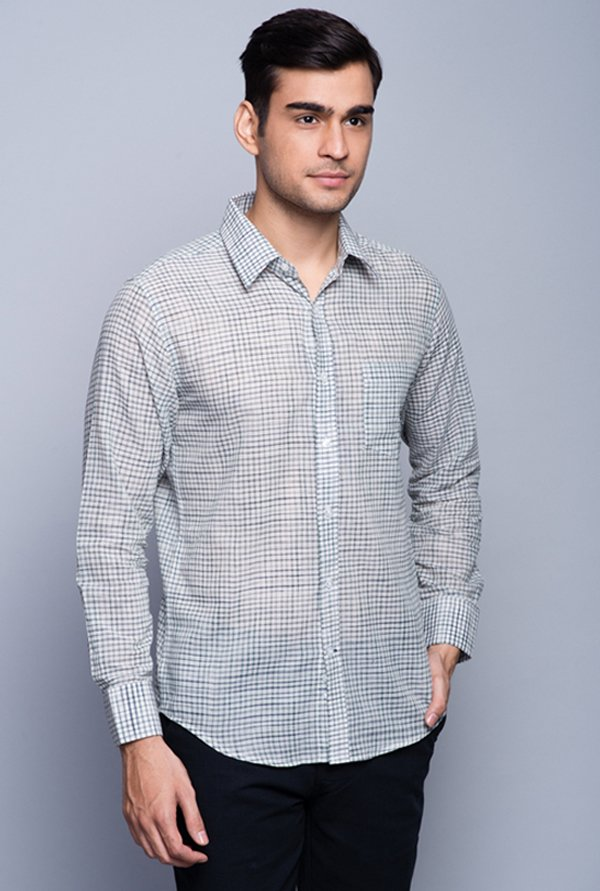 Fabindia Grey Checks Shirt