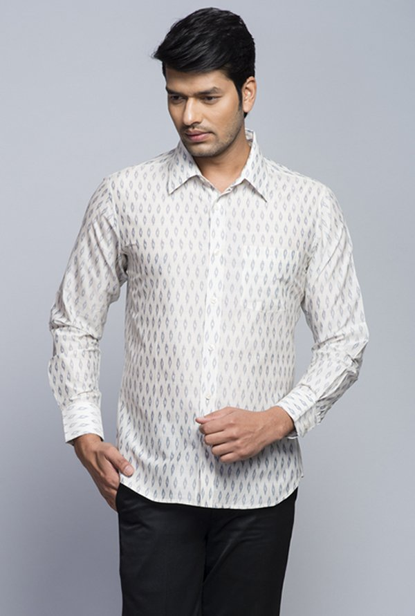 Fabindia White Printed Shirt