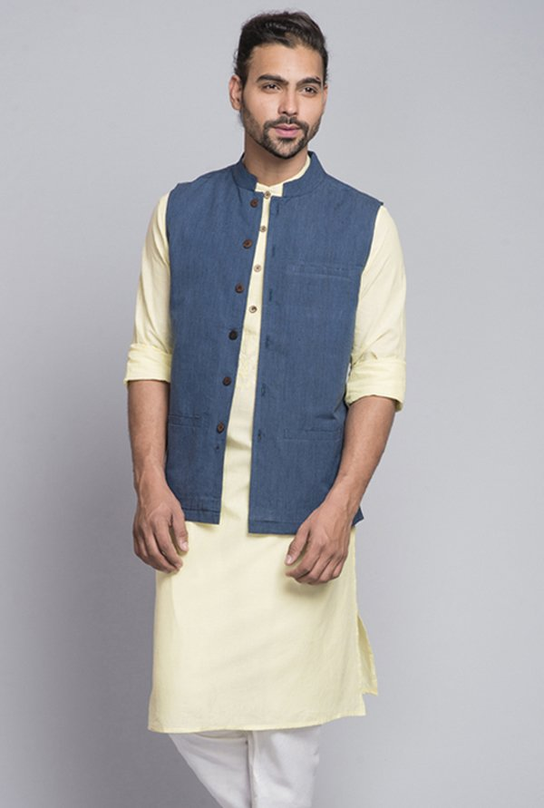 Fabindia Navy Solid Cotton Nehru Jacket