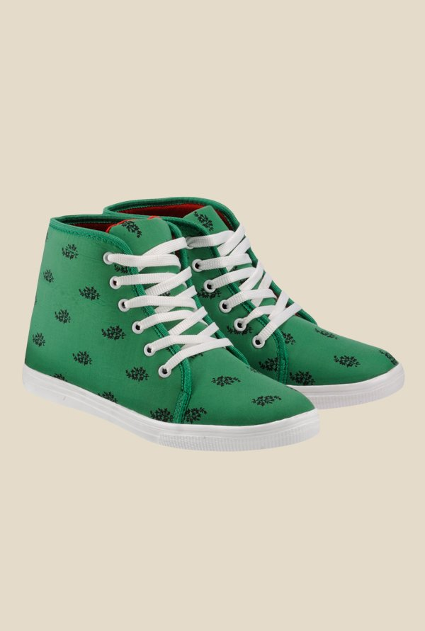 Nell Green & White Sneakers