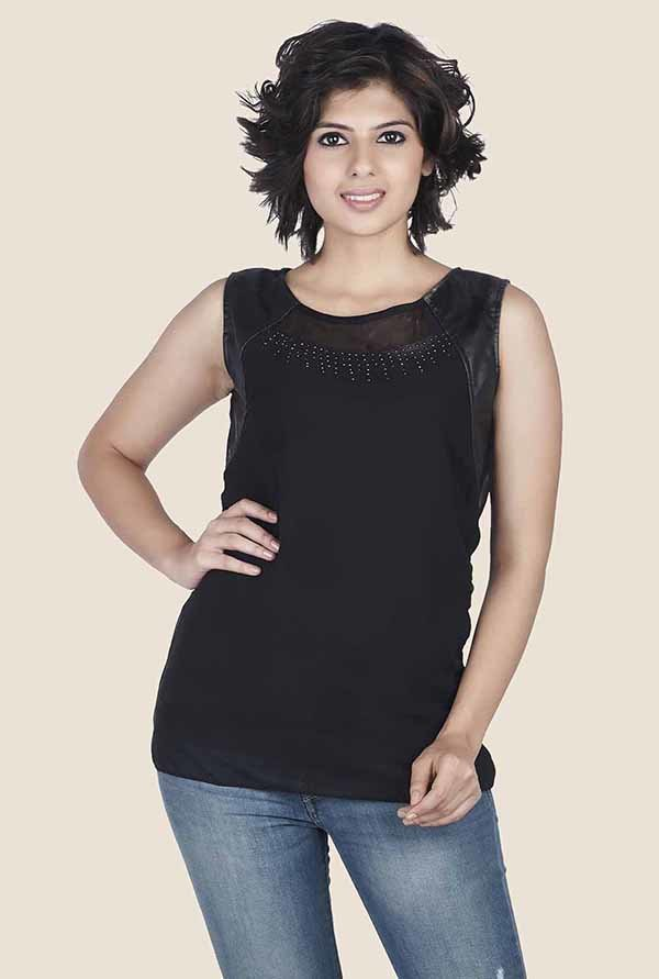 Soie Black Solid Top
