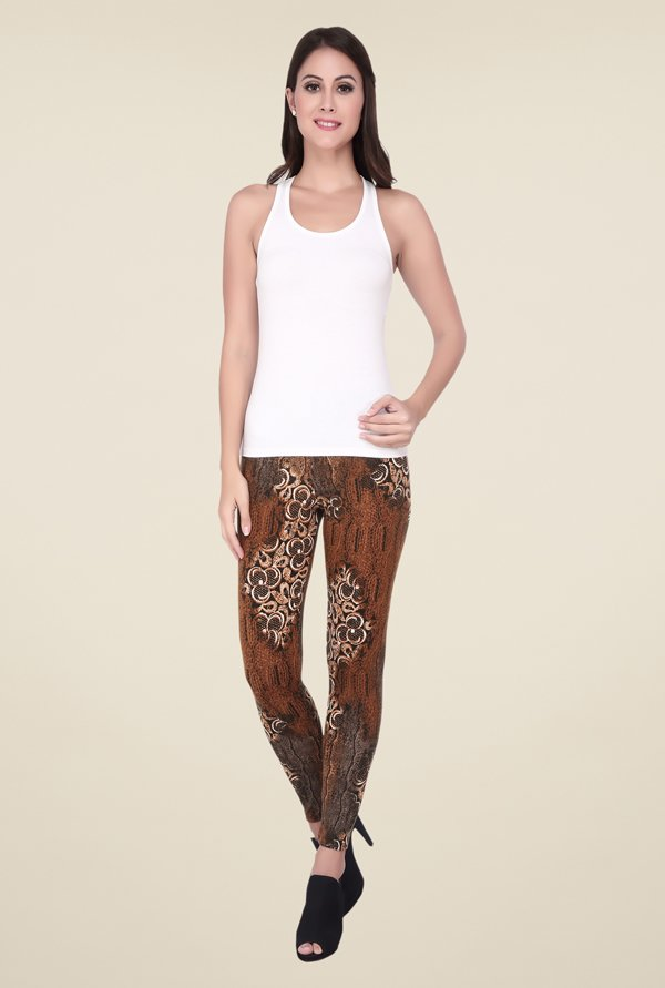 Soie Brown Printed Leggings