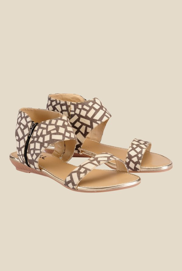 Nell Beige Flat Sandals