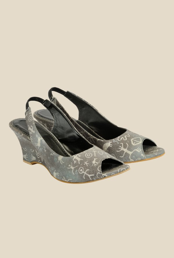 Nell Dark Grey Sling Back Wedges