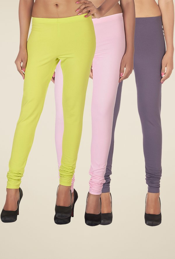 Soie Yellow, Pink & Purple Solid Leggings (Pack of 3)