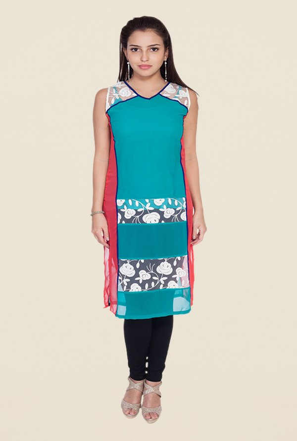 Soie Teal Printed Tunic