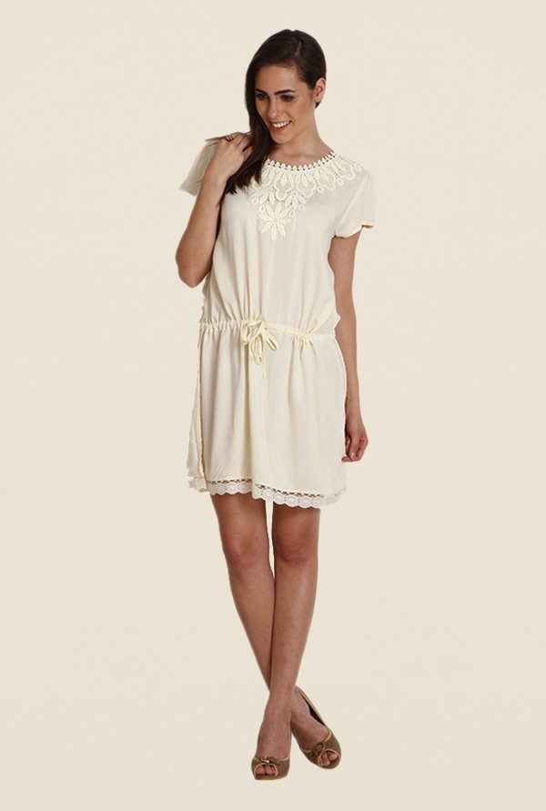 Soie Off White Solid Dress