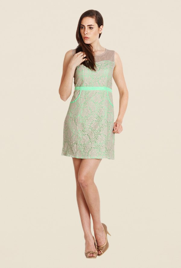 Soie Neon Green & Beige Lace Dress