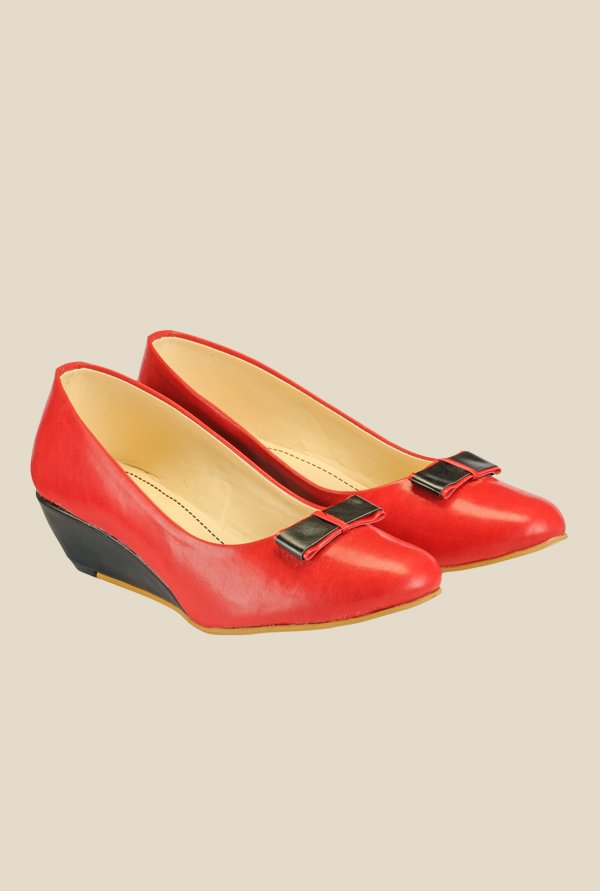 Nell Red & Black Wedge Heeled Pumps