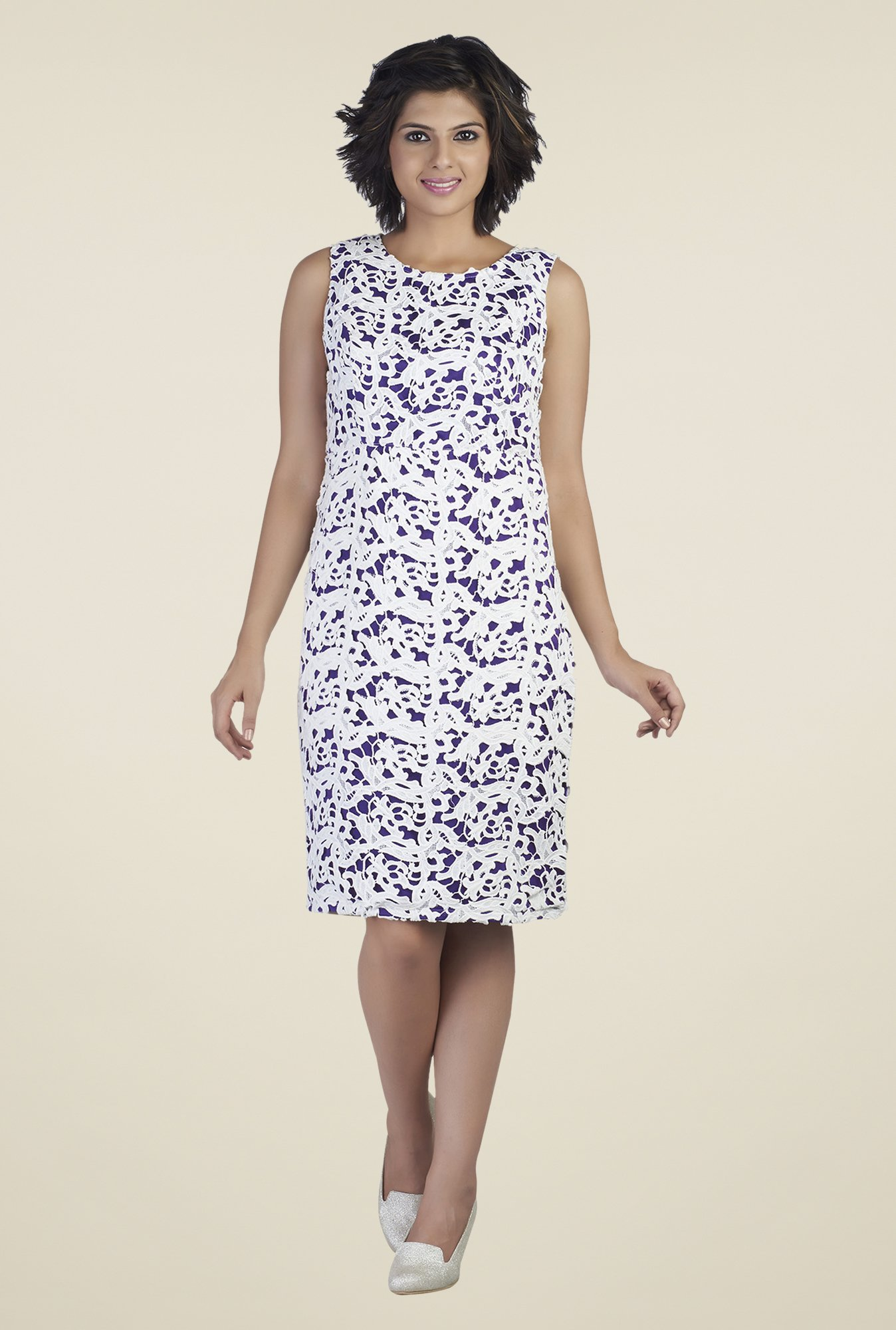 Soie White & Purple Lace Dress